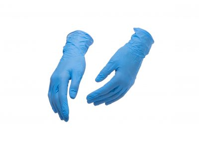 Blue nitrile or latex gloves isolated on white